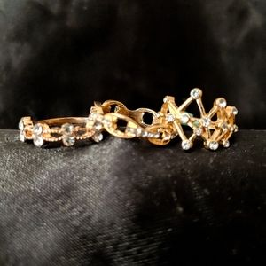 Crystal and gold tone fashion rings